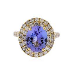 14KT Yellow Gold 3.63 ctw Tanzanite and Diamond Ring