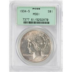 1934-S $1 Peace Silver Dollar Coin PCGS MS61 Old Green Holder