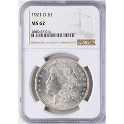 1921-D $1 Morgan Silver Dollar Coin NGC MS62