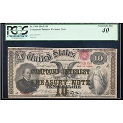 1864 $10 Compound Interest Note Fr.190b PCGS Extremely Fine 40