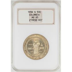1936-S Columbia Sesquicentennial Commemorative Half Dollar Coin NGC MS65