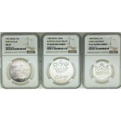 Lot of (3) 1967/1980 Israel Commemorative Silver Coins NGC MS67/PF67/PF68 Ultra Cameo