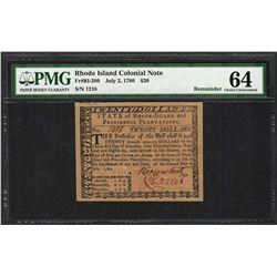 July 2, 1780 $20 Rhode Island Colonial Currency Note Fr.RI-289 PMG Uncirculated 64