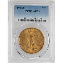1909/8 $20 St. Gaudens Double Eagle Gold Coin PCGS AU53