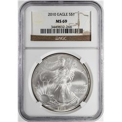 2010 $1 American Silver Eagle Coin NGC MS69