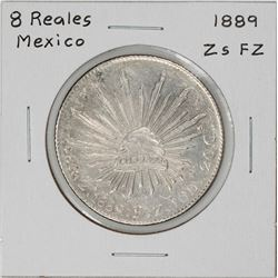 1889 Zs FZ Mexico 8 Reales Caps & Rays Silver Coin