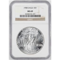 1988 $1 American Silver Eagle Coin NGC MS69
