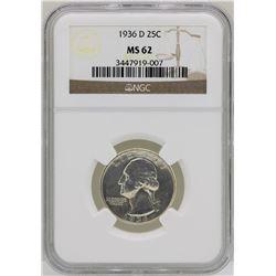 1936-D Washington Silver Quarter Coin NGC MS62