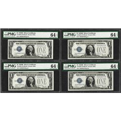 (4) Consecutive 1928B $1 Funnyback Silver Certificate Notes PMG Choice Unc. 64EPQ