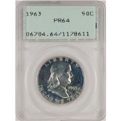 1963 Proof Franklin Half Dollar Coin PCGS PR64 Old Green Rattler