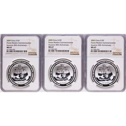 Lot of (3) 2009 China 10 Yuan Modern Commemorative Silver Panda Coins NGC MS67