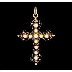 14KT Rose Gold Pearl Cross Pendant