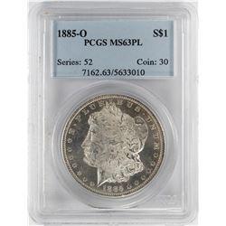 1885-O $1 Morgan Silver Dollar Coin PCGS MS63 PL