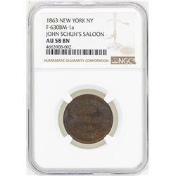 1863 New York, NY John Schuh's Saloon Token NGC AU58BN