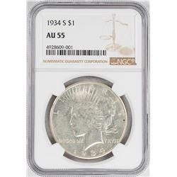 1934-S $1 Peace Silver Dollar Coin NGC AU55