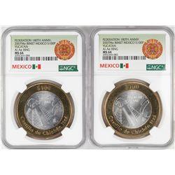 Lot of (2) 2007Mo Mexico Bi-metal 100 Pesos Silver Coins NGC MS64