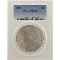 1898 $1 Morgan Silver Dollar Coin PCGS MS65
