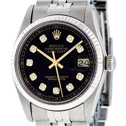 Rolex Men's Stainless Steel 36MM Black Diamond Datejust Wristwatch