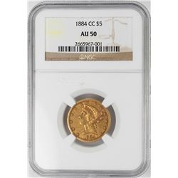 1884-CC $5 Liberty Head Half Eagle Gold Coin NGC AU50