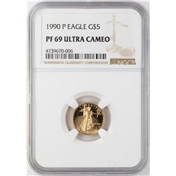 1990-P $5 Proof American Gold Eagle Coin NGC PF69 Ultra Cameo