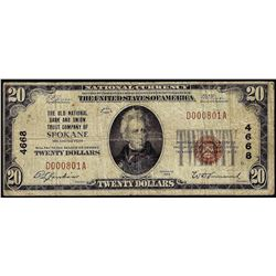 1929 $20 National Bank Spokane, WA CH# 4668 National Currency Note