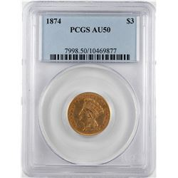 1874 $3 Indian Princess Head Gold Coin PCGS AU50