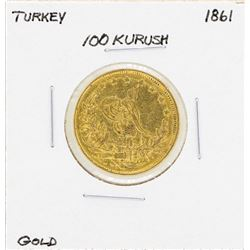 1861 Turkey 100 Kurush Gold Coin