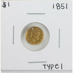 1851 Type 1 $1 Liberty Head Gold Dollar Coin with Hole