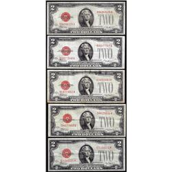 Lot of (5) 1928D/E $2 Legal Tender Notes
