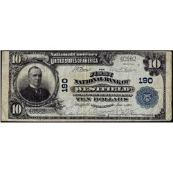 1902 PB $10 First NB of Westfield, MA CH# 190 National Currency Note