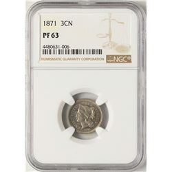 1871 Proof Three Cent Nickel Coin NGC PF63