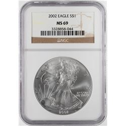2002 $1 American Silver Eagle Coin NGC MS69