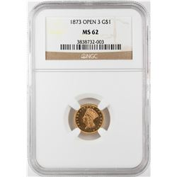 1873 Open 3 $1 Indian Princess Head Gold Dollar Coin NGC MS62