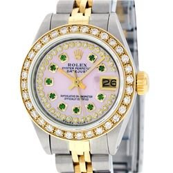 Rolex Ladies Two Tone 14K Pink MOP Emerald String Diamond Datejust Watch