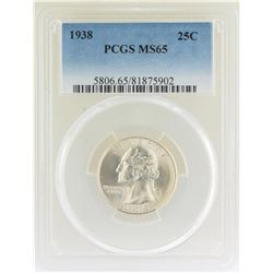 1938 Washington Quarter Coin PCGS MS65