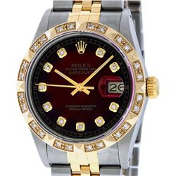 Rolex Mens Two Tone 14K Red Vignette Pyramid Diamond 36MM Datejust Wristwatch