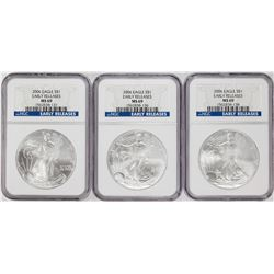 Lot of (3) 2006 $1 American Silver Eagle Coins NGC MS69 Early Releases