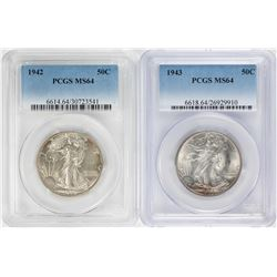 Lot of 1942-1943 Walking Liberty Half Dollar Coins NGC MS64