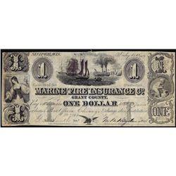 1844 $1 Marine & Fire Insurance Co. Sinipee, Wisconsin Obsolete Note