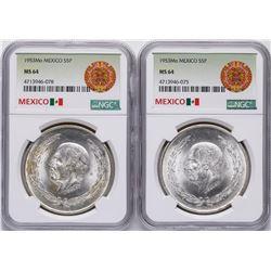 Lot of (2) 1953Mo Mexico 5 Pesos Silver Coins NGC MS64