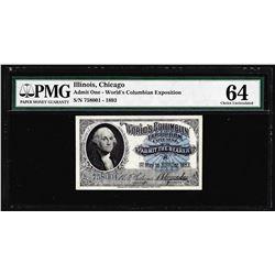 1893 World's Columbian Exposition Ticket Washington PMG Choice Uncirculated 64