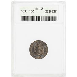 1835 Capped Bust Dime Coin ANACS XF45