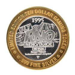.999 Silver Reno/Tahoe International Airport $10 Casino Limited Edition Gaming Token