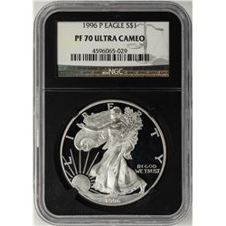 1996-P $1 Proof American Silver Eagle Coin NGC PF70 Ultra Cameo Black Core