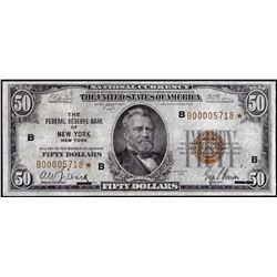 1929 $50 Federal Reserve Bank STAR Note New York