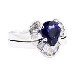 14KT White Gold 2.27 ctw Sapphire and Diamond Ring and Band