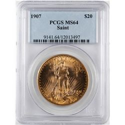 1907 $20 St. Gaudens Double Eagle Gold Coin PCGS MS64