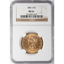 1883 $10 Liberty Head Eagle Gold Coin NGC MS61