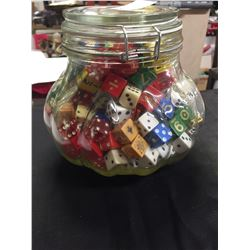 "Big Jar full of Old Dice 7.5"" w x 6.5"" H"