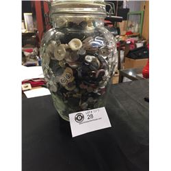 "Vintage Jar full of Old Buttons. 6""w x 9""h"